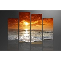Schilderij - Strand/Sunset, Oranje, 130X80cm, 4luik
