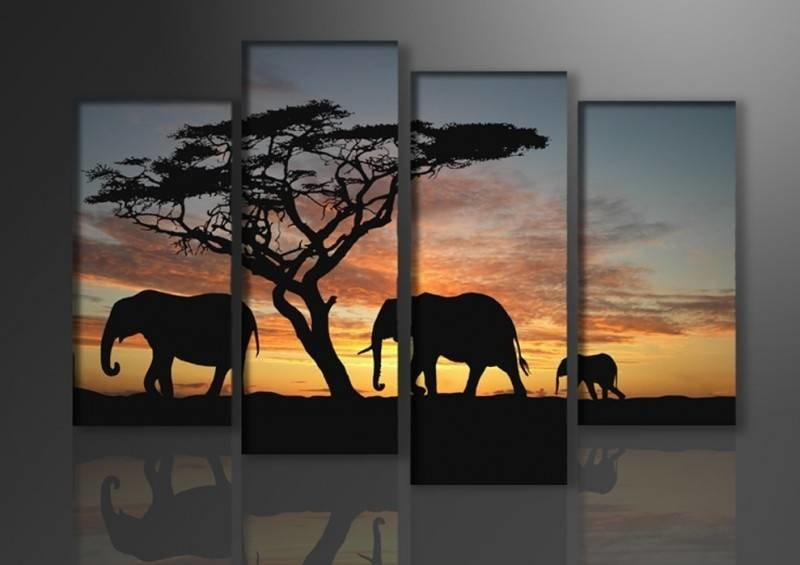 Schilderij - Afrika Olifant, Oranje/Zwart, 130X80cm, 4luik