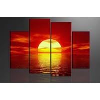 Schilderij - Zonsondergang, Rood/Geel, 130X80cm, 4 luik