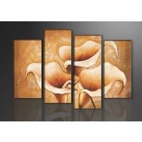 Schilderij - Bloemen, Beige, 130X80cm, 4luik