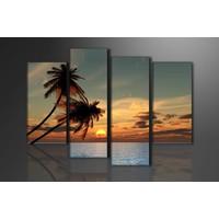 Schilderij - palmbomen in het paradijs, Oranje, 130X80cm, 4luik