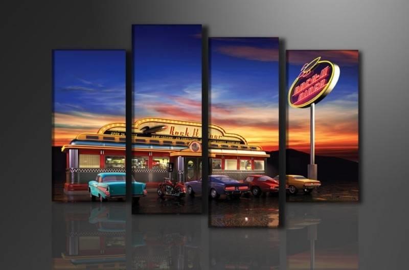 Schilderij - USA Retro, Multi-gekleurd, 130X80cm, 4luik