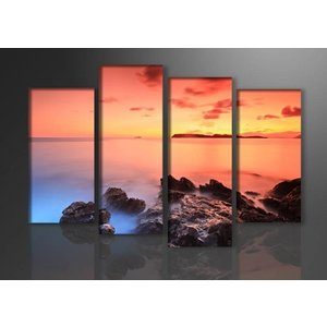 Schilderij - Rotsen, Oranje, 130X80cm 4luik