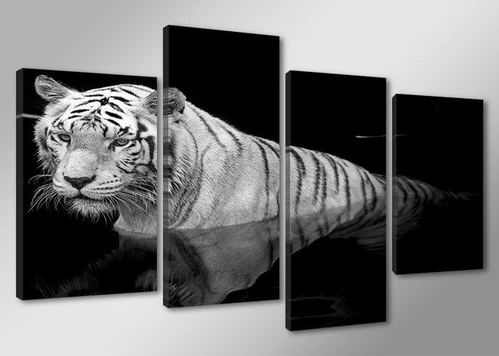 Schilderij - Tijger, Zwart-Wit, 130X80cm, 4luik