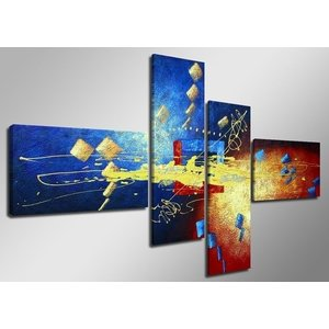 Schilderij - Abstract, Blauw/Geel, 160X70cm, 4luik