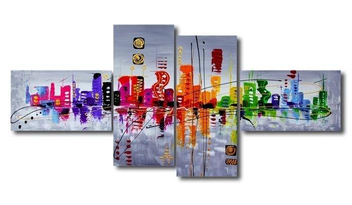 Schilderij - Abstract Skyline, Multi-gekleurd, 160X70cm, 4luik