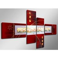 Schilderij - Abstract in het Rood, 160X70cm, 4luik
