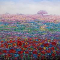Schilderij -Handgeschilderd - Bloemenveld 100x100cm