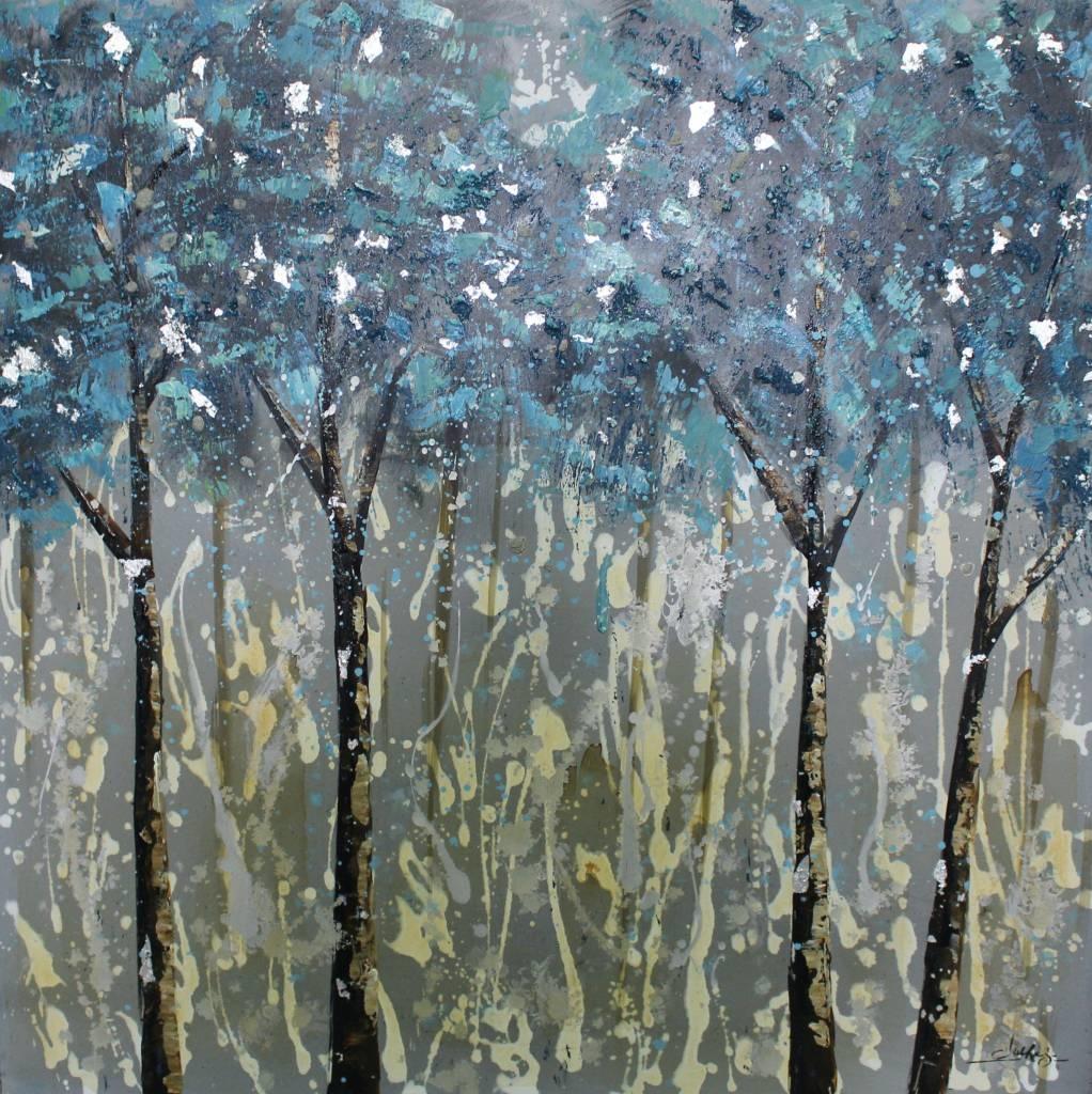 Schilderij -Handgeschilderd- Bos 100x100cm
