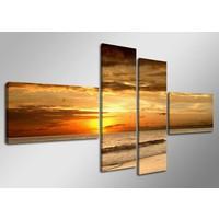 Schilderij - Zon, Zee, Strand, Oranje, 160X70cm, 4luik