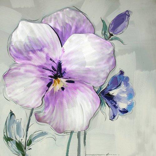 Schilderij -Handgeschilderd - Viooltje 100x100cm
