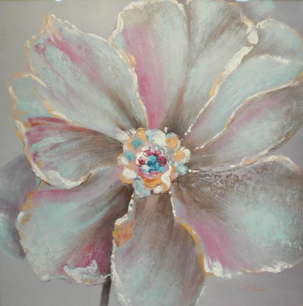 Schilderij -Handgeschilderd - Bloem 100x100cm