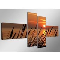 Schilderij - Duinen/Sunset, Oranje, 160X70cm, 4luik