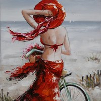 Schilderij -Handgeschilderd - Op het strand 100x100xm