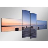 Schilderij - Steiger, Paars/Oranje, 160X70cm, 4luik
