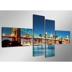 Schilderij - Skyline/New York, Blauw, 160X70cm, 4luik
