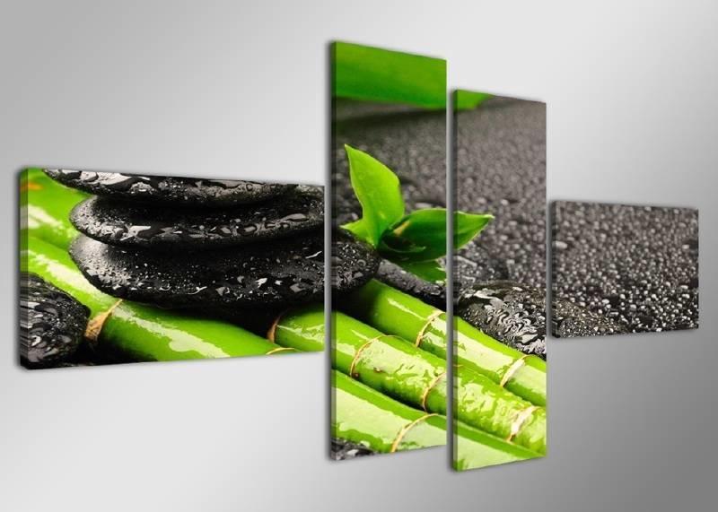 Schilderij - Bamboe Stenen, Groen/Zwart, 160X70cm, 4luik