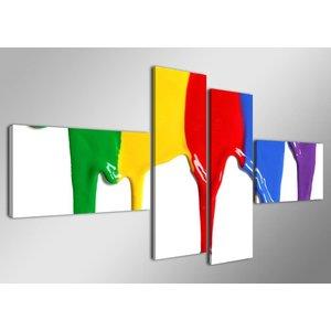 Schilderij - Gekleurde Verf, 160X70cm, 4luik