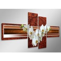 Schilderij - Witte Orchidee, Bruin, 160X70cm, 4luik