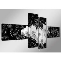 Schilderij - Orchidee, Zwart-Wit, 160X70cm, 4luik