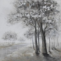 Schilderij -Handgeschilderd- Oever met bomen , zwart wit 100x100cm