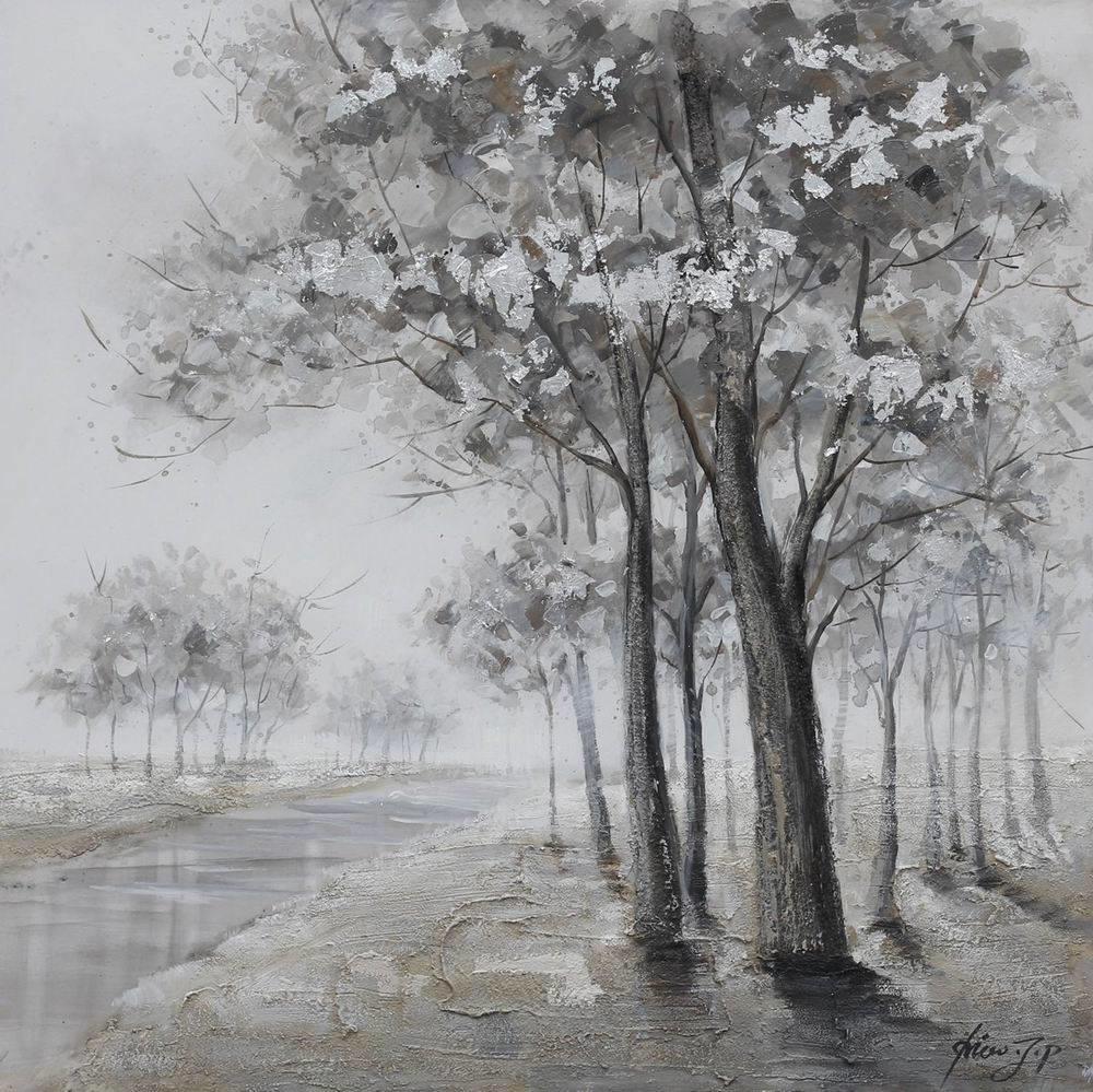 Schilderij -Handgeschilderd - Oever met bomen , zwart wit 100x100cm