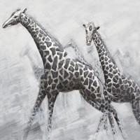 Schilderij -Handgeschilderd - Giraffen - zwart wit 100x100cm