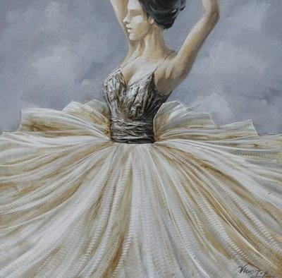 Schilderij -Handgeschilderd - Ballerina 100x100cm