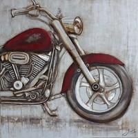 Schilderij -Handgeschilderd - Rode Motor 100x100cm