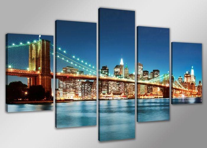 Schilderij - Skyline New York, Blauw 200X100cm, 5luik
