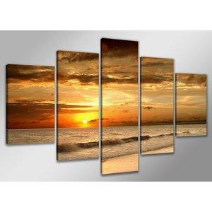 Schilderij - Beautiful Sunset, Oranje, 200X100cm, 5luik