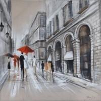 Schilderij -Handgeschilderd - Regenachtige dag  - grijs rood - 100x100cm