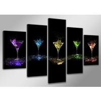 Schilderij - Cocktails, Multi-gekleurd, 200X100cm, 5luik