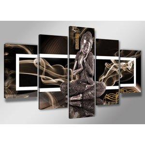 Karo-art Schilderij - Boeddha, Bruin, 200X100cm, 5luik