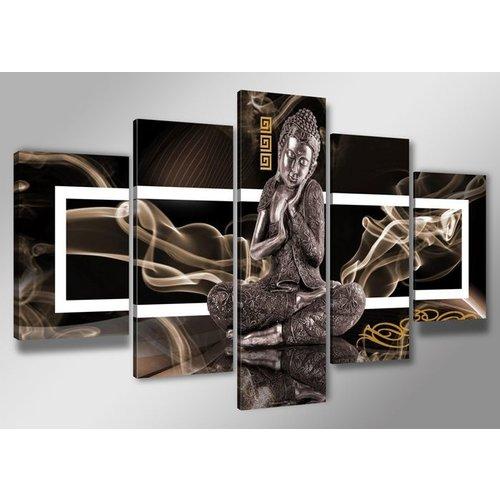 Schilderij - Boeddha, Bruin, 200X100cm, 5luik