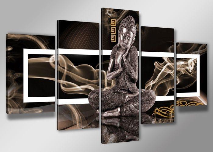 -48% SALE | Schilderij - Boeddha, Bruin, 200X100cm, 5luik