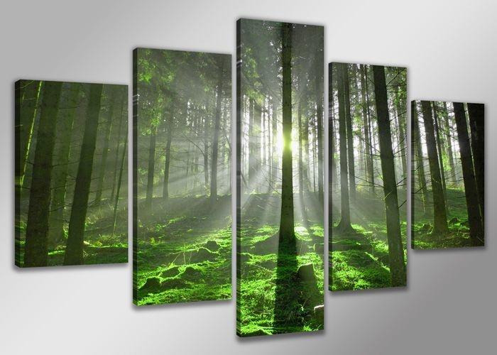 Schilderij - Bos XXL, Groen, 200X100cm, 5luik