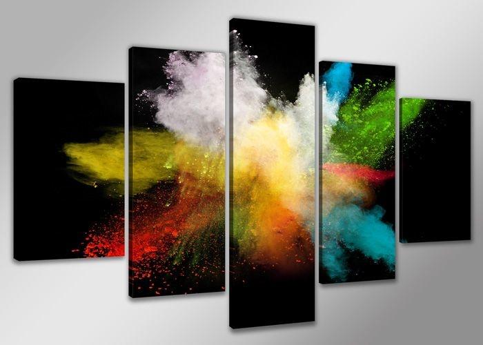 Schilderij - Abstract Colors, multi-gekleurd, 200X100cm, 5luik