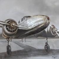 Schilderij -Handgeschilderd- Vliegtuig  retro - 100x100cm
