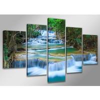 Schilderij - Waterval XXL, Blauw/Groen, 200X100cm, 5luik