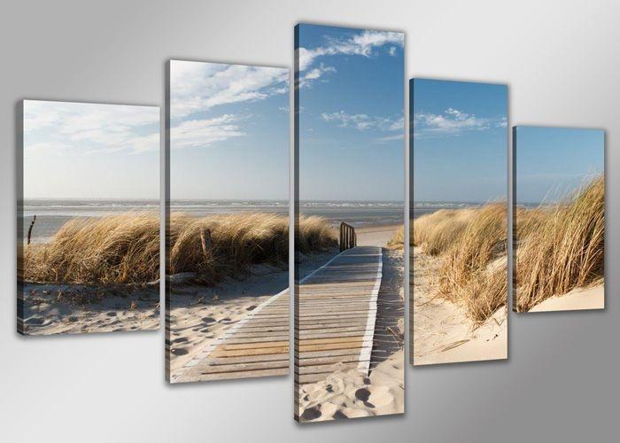 Schilderij - Noordzee XXL, Blauw/Beige, 200X100cm, 5luik