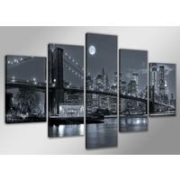 Schilderij - USA New York, Zwart-Wit, 200X100cm, 5luik
