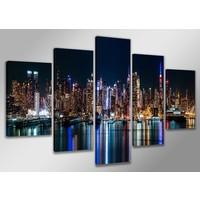 Schilderij - USA New York Night, 200X100cm, 5luik