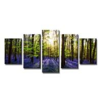 Schilderij - Lavendel Bomen, Paars/Groen, 200X100cm, 5luik