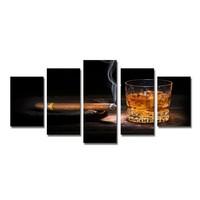 Schilderij - Whiskey en Sigaar, Zwart/Bruin, 200X100cm, 5luik