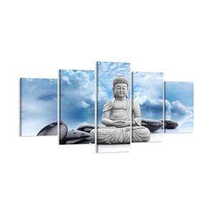 Schilderij - Boeddha Blauwe Lucht, 200X100cm, 5luik