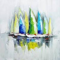 Schilderij -Handgeschilderd - Zeilboten met blauw , groen , gele zeilen - 100x100cm