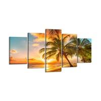 Schilderij - Palmboom Strand, multi-gekleurd, 200X100cm, 5luik