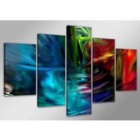 Schilderij - Abstracte Kleuren, Multi-gekleurd, 200X100cm, 5luik