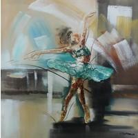 Schilderij -Handgeschilderd - Ballerina  in beweging - multikleur -  100x100cm